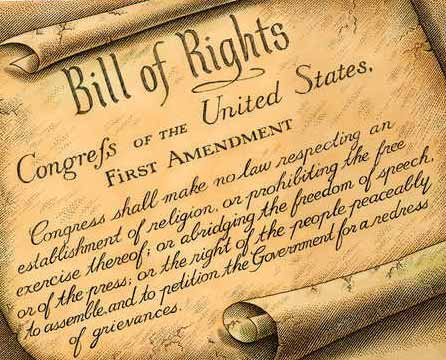 The First Amendment of the United States of America, guaranteeing freedom of speech
