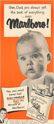 An advertisement for cigarettes featuring a baby