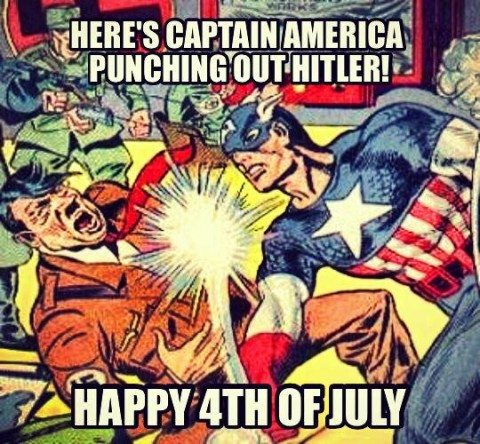 CaptainAmericapunching Hitler